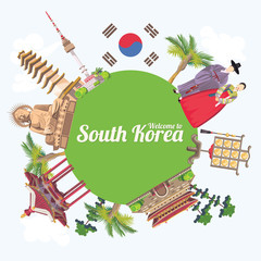 South Korea travel vecto poster with pagodas and traditional signs. Korea Journey card with korean objects.