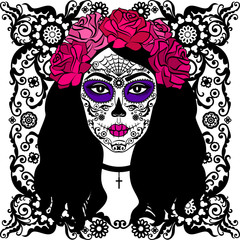 Girl with sugar skull makeup. Calavera Catrina. Day of the dead