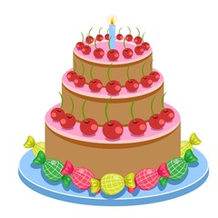 Birthday Cake With Candles And Candies Isolated On White Background Vector Illustration.