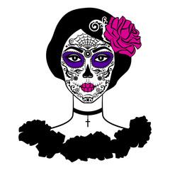 Girl with sugar skull makeup. Calavera Catrina. Day of the dead