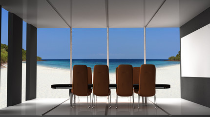 Modern conference room with furniture,  big windows and sea view 3D Render