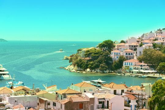 View from above of Skiathos town. Skiathos island
