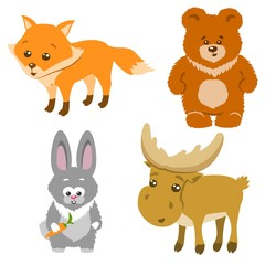 Cute Forest Animals Cartoon Style. Vector Illustration