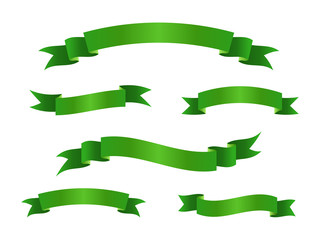 Collection of green scroll ribbon banners. Vector illustration.