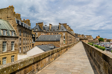 View of ancient port city Saint-Malo. English Channel. France.