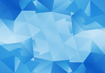 Geometric blue background with triangular polygons. Vector illustration.