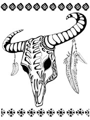 Buffalo skull with feathers and tribal decorative elements.. Hand drawn ink sketch. Native American theme.