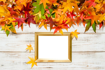 Autumn leaves and golden frame for picture text