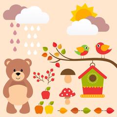 autumn set with bear and birds