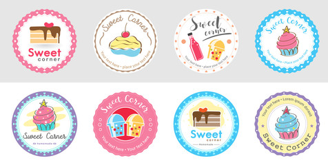 Set of cute sweet bakery badge label and logo for sticker and sign