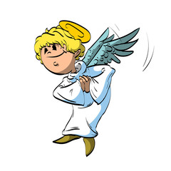 Colorful vector illustration of a cartoon angel with white robe and blonde hair