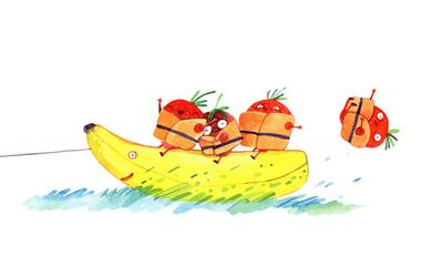 watercolor strawberry on banana