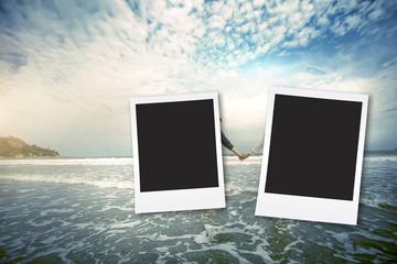 vintage fillter photo frame at sea hua hin in Thailand