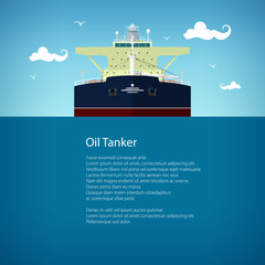 Front View of the Oil Tanker and Text, International Freight Transportation, Vessel for the Transportation of Goods, Poster Brochure Flyer Design, Vector Illustration