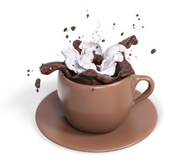 Cup chocolate with whipped cream, 3d rendering
