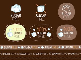 vector sugar free sign set