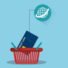 shopping red basket with credit card and global network sphere icon. vector illustration