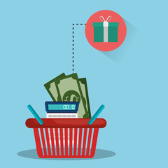 shopping red basket with money bills and calculator and gift box icon. vector illustration