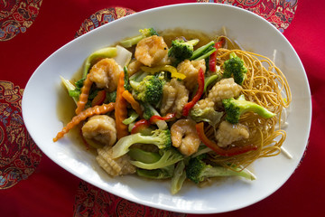 Fried noodles , with shrimps