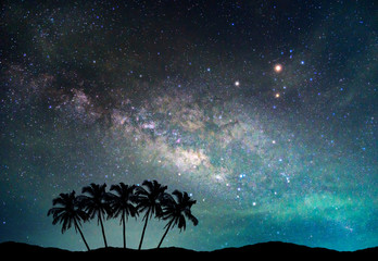 Landscape with Milky way galaxy. Night sky with stars and silhouette coconut palm tree on the mountain.