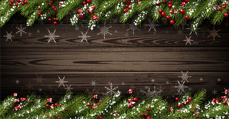 Wooden background with fir branches.