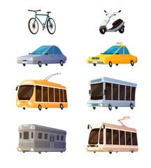 City Transport Flat Cartoon Icons