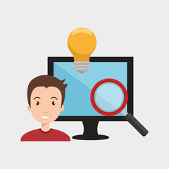 avatar man and monitor computer with  magnifying glass and bulb light icon silhouette. vector illustration