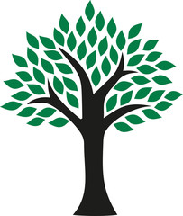 Perfect tree icon with leaves