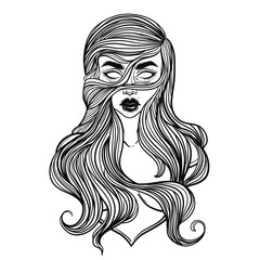 Zombie or vampire Girl Line Art. Hand drawn vector illustration. Black line on white background. Cartoon style. Could be used as design for coloring book or as part of Halloween decor.