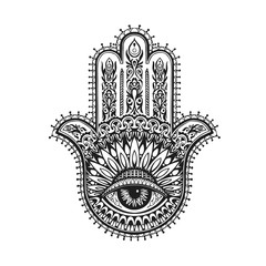 Hand drawn indian hamsa with ethnic ornaments. Vector illustration