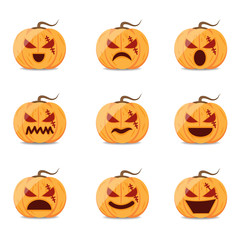 Halloween pumpkin vector cartoon set.
