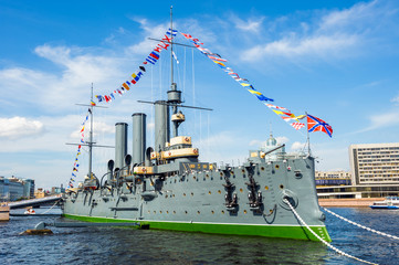 Cruiser Aurora, the famous landmark, St Petersburg, Russia
