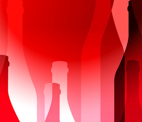 Red background with bottles