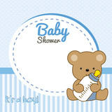 Baby Shower Girl Frame Baby Bear Stock Image And Royalty Free