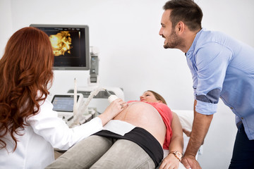 Doctor shows an ultrasound to a young happy couple
