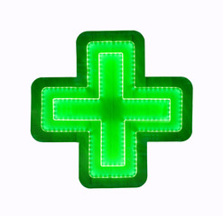 Green glowing cross