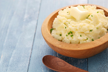 homemade mashed potatoes with melting butter