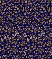 Vintage floral seamless pattern with tiny flowers, textured dark gold on night blue colored background
