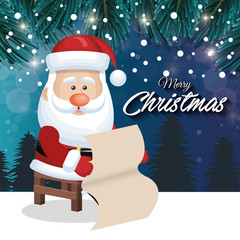 santa claus card pine landscape design graphic vector illustration