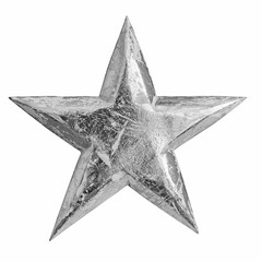 Silver metal christmas star