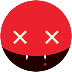 Minimalistic smile picture vampire for Halloween holiday in the circle, vector design
