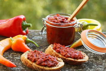 Ajvar - delicious dish of roasted red peppers