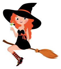 Halloween witch on a broomstick drinks cocktail