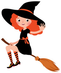 Little redhead sexy Halloween witch flying on a broomstick