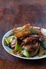 Twice cooked pork - traditional Chinese dish from Sichuan region .