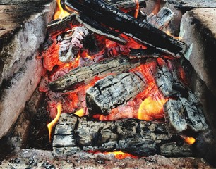 Close-Up Of Firewood Burning In Fire Pit