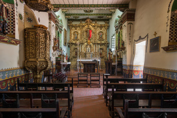 Sanctuary inside the Serra Chapel at Mission San Juan Capistrano in California