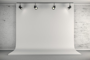 3d studio setup with white canvas background and ceiling lights