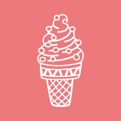 ice cream in waffle cup linear image Pink
