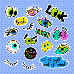 Fashion patch badges. Eyes set. Stickers, pins, patches and handwritten notes collection in cartoon 80s-90s comic style. Trend. Vector illustration isolated. Vector clip art.